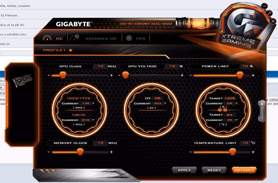 Taktovanie gigabyte gtx 1080 8GB windforce OC