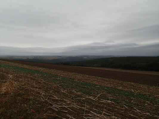 Pole a údolí Střely z polní cesty před Vrážném.