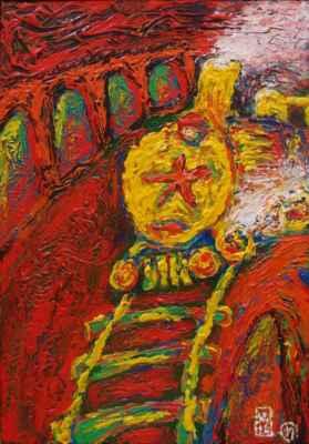 "13. Malenta Vilan  ""Jede, jede mašinka"", akryl na lepence, 58,5x41cm; 2019; 1 500 Kč"