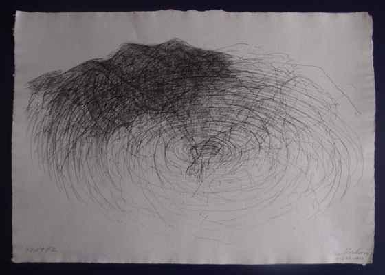 """15. Kosková Inge   """"Kráter"""", kresba tuší na papíře, 29,2x41,7cm; 5.-6.11.1994; 1 500 Kč"""