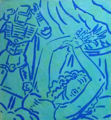 """19. Šnajdr Miroslav ml.  """"Ženy v ohrožení"""", akryl na plátně, 50x45cm; 4/2019; 3 500 Kč"""