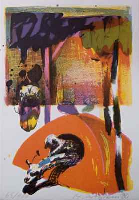 "32. Rittstein Michal  ""Stan"", barevná litografie, 20,5x29cm; 2000; 2 000 Kč"