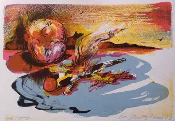 "33. Rittstein Michal ""Ohniště"", barevná litografie, 29x20,5cm; 2000; 2 000 Kč"