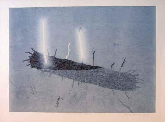 """46. Michálek Ondřej """"Plovoucí světelný objekt"""", linoryt, 49x69cm; 1987; 3 000 Kč"""