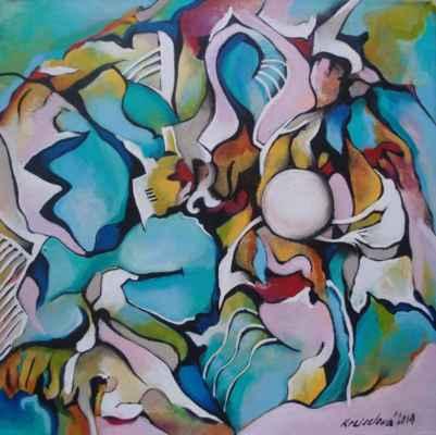 """49. Kreiselová Silvie """"Za úplňku"""", akryl, plátno, 40x40cm; 2019; 2300 Kč"""