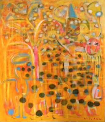 """51. Hubatka František """"Šílené meruňky"""", akryl, plátno, 110x95cm; 2019; 10 000 Kč"""