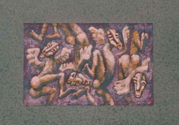 """62. John Vít """"Tančící andělé"""", tempera, 12x19cm; 2000; 500 Kč"""
