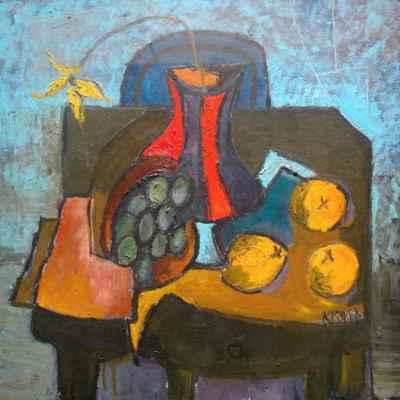 """74. Krupa Ivan """"Zátiší se třemi pomeranči"""", papír, olej, 50x50cm; nedat.; 3 000 Kč"""
