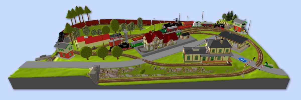 3D vizualizace kolejiště - Není samozřejmě úplně přesná, budovy jsou větší, než budou ve skutečném modelovém ztvárnění, zeleň je jen tak hala bala rozházená. Pro představu to ale stačí.