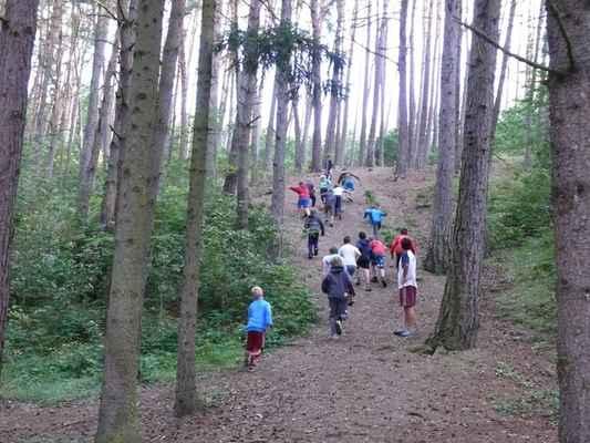Ranní rozcvička - Hned po probuzení vyběhli kluci do lesa
