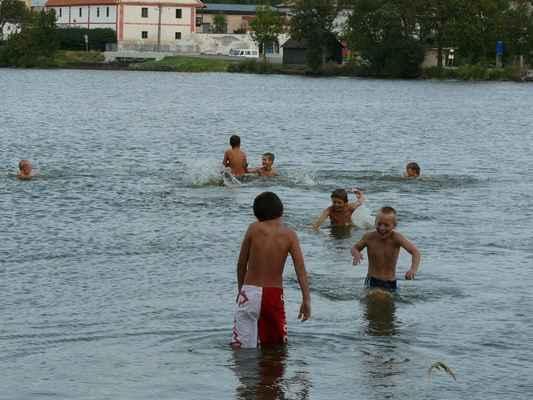 Koupání - Ve  vedru jsme museli vzít zavděk rybníkem Labuťák