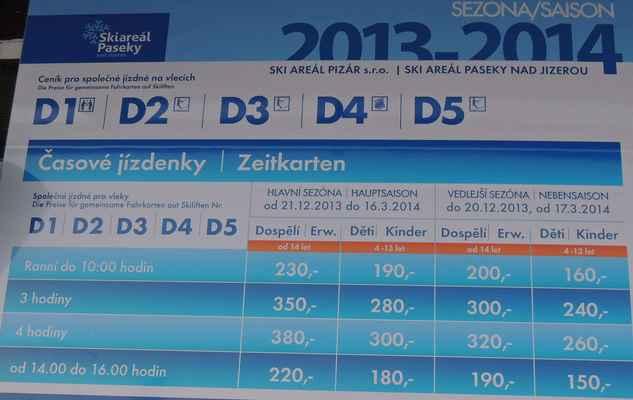 Srovnej si ceny Udatný/Pizar - ceník Paseky nad Jizerou, za 2 hodiny 180 Kč na 4x delší sjezdovce než Koupaliště 1, ale pozor, jezdí se na sněhu, o 40 Kč dráž.